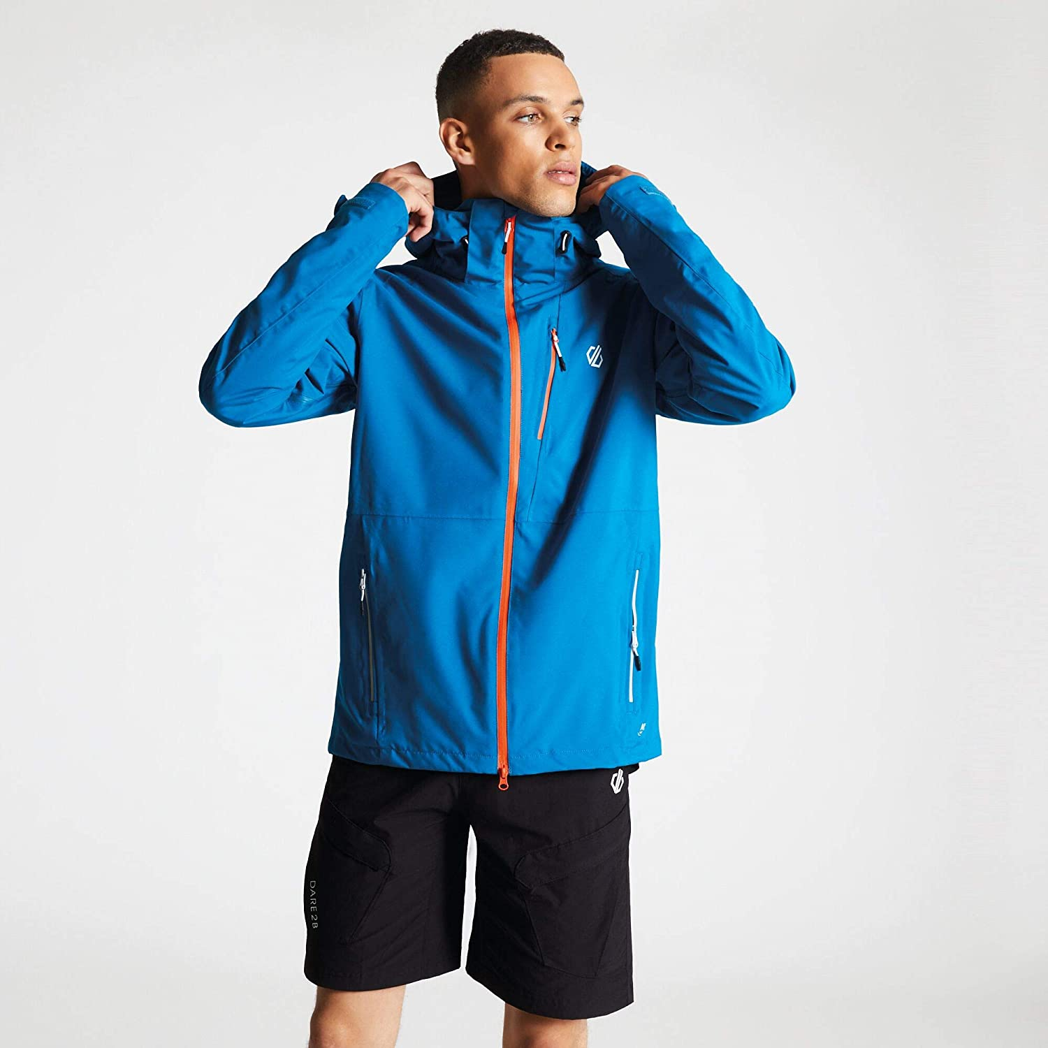 Dare2b Diluent Waterproof Breathable Taped Seams Detachable Hood Stretch 2 Way Zip Jacket Jackets Waterproof Shell Hombre