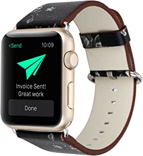 YOSWAN Bracelet for Apple Watch, National Black White Floral Printed Leather Watch Band 38mm 42mm Strap for Apple Watch Flower Design Wrist Watch Bracelet, 38 mm, Black/White Flower