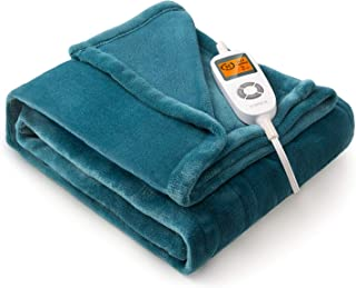 """VIPEX Heated Blanket Electric Throw, 50"""" x 60"""" Flannel Electric Blanket with 10 Heating Levels & 3 Timer Settings Auto-Off..."""