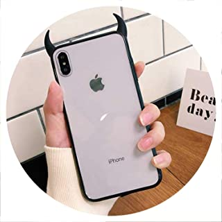 Chery-Story Cute Devil Horn Case for iPhone Xs Max XR XS 6 6S 7 8 Plus Full Body Protective Acrylic Phone Back Cover Cases Gift,Black,for iPhone XR