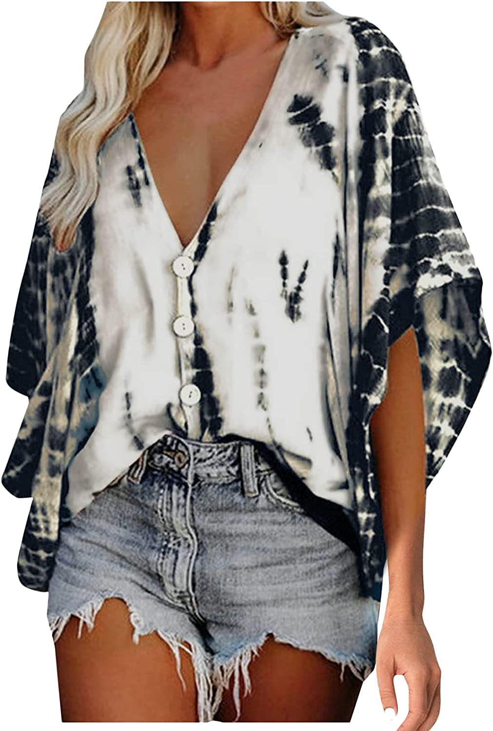 Lovor Women's Summer Print Tops Short Sleeve Comfortable Button Down V Neck T-Shirts Bright Colorful Casual Tees Blouses