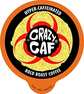 Crazy Cups Flavored Coffee for Keurig K-Cup Machines, Hyper-Caffeinated Coffee, Hot or Iced Drinks, 22 Single Serve, Recyclable Pods