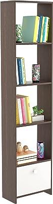 Bluewud Molse Bookshelf,with Drawer (Frosty White, Wenge)