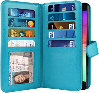 NEXTKIN Case Compatible with LG K20 Plus/Harmony VS501/ LV5 K10 2017 M250 M257, Leather Dual Wallet TPU Cover, 2 Pockets Double Flap, Multi Card Slots Snap Button Strap for LG K20 Plus - New Teal