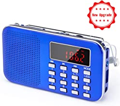 Mini Portable Pocket AM/FM Radio with LED Flashlight, Digital Radio Speaker Music Player Support Micro SD/TF Card/USB, Auto Scan Save, 1200mAh Rechargeable Battery Operated, by PRUNUS