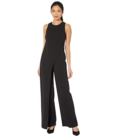 Adrianna Papell Crepe Halter Jumpsuit w/ Overlay (Black) Women