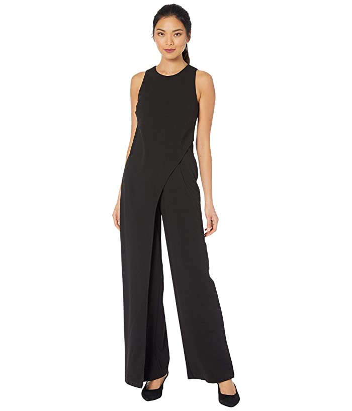 Adrianna Papell  Crepe Halter Jumpsuit with Overlay (Black) Womens Jumpsuit and Rompers One Piece
