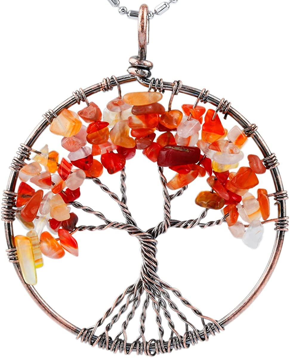 SUNYIK Tumbled Stone Tree of Wire Handmade Wrapped New York Mall Cheap Pendant Life