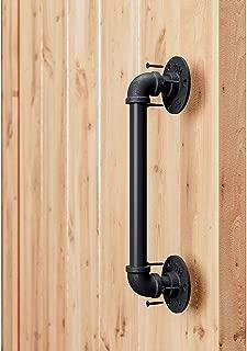 "SMARTSTANDARD 12"" Pipe Barn Door Handle Black Rustic Industrial Style Handle Bar Pull for Gate Cabinet Shed Door"