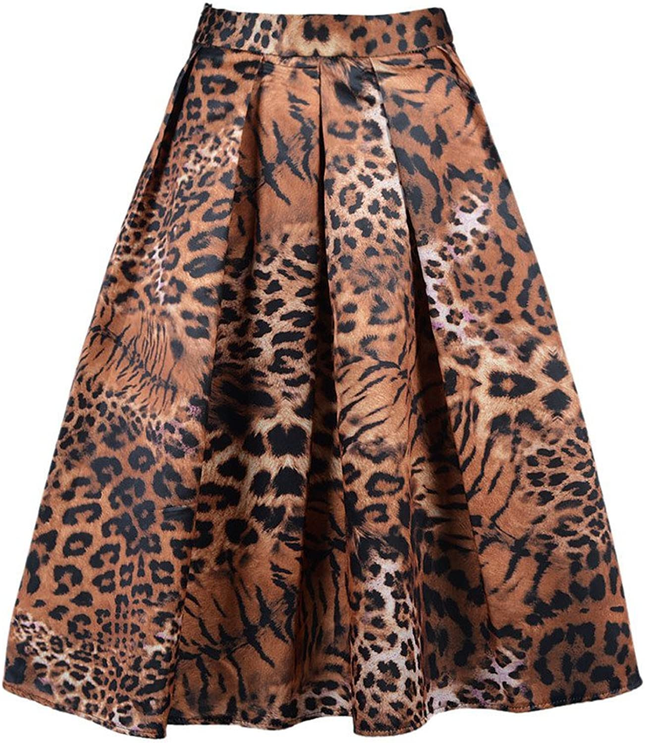 CHARLES RICHARDS CR Women's Print Floral Tiger Pattern Midi Skirt