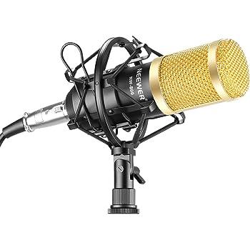 Neewer Kit de Micrófono Condensador Profesional para Radiodifusión y Grabación Estudio- (1)NW-800 Micrófono Condensador + (1)Montura Antivibratoria + (1)Tapa de Espuma Antiviento + (1)Cable (Negro)