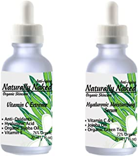 Hyaluronic Acid and Vitamin C, 100% Pure-Highest Quality, Anti-Aging Serum- Intense Hydration, Non-greasy, Vegan, Paraben ...