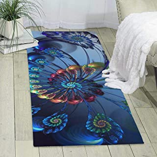 Purple Maple Beautiful Peacock Feather Living Room Rugs,Super Soft Fiber Rugs,Multi-Function Area Rugs Collection,Non Slip Indoor Bedroom Carpet,Easy Decoration in Nursery,Dining Room,Office(70