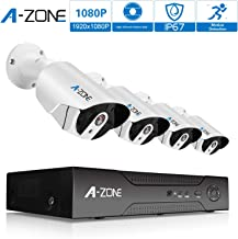 Security Camera System, A-ZONE Security 8ch 1080P NVR HD 1080P IP PoE Security Camera System with 4 Outdoor/Indoor 3.6mm Fixed Lens 2MP 1080P Cameras, QR Code Easy Setup, Free Remote View-1TB HDD
