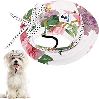 Pawaboo Dog Princess Cap, Round Brim Adjustable Fashion Visor Dog Hat, Outdoor Sun Protection Sunbonnet Outfit Pet Cap with Ear Holes & Chin Strap for Puppy Dogs