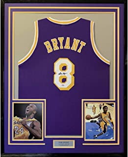 Framed Autographed/Signed Kobe Bryant 33x42 Los Angeles LA Purple Basketball Jersey PSA/DNA COA