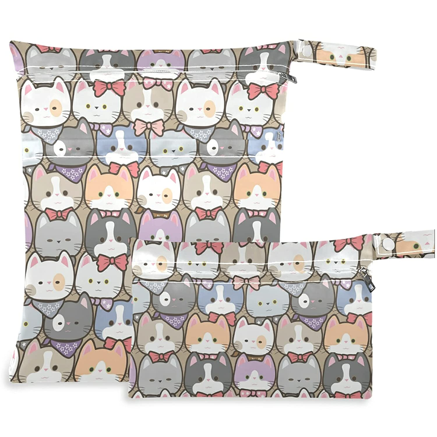 visesunny Kitten Cat Animal 2Pcs Ranking TOP9 Wet Pockets with Bag Zippered W Now free shipping