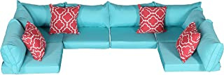 Do4U Patio Furniture Cover Water Resistant Outdoor Furniture Sets Cushion Cover Set with 2 Corner/ 4 Middle Sectionals Back & Seat Cushion Covers(Turquoise-14 Pieces)
