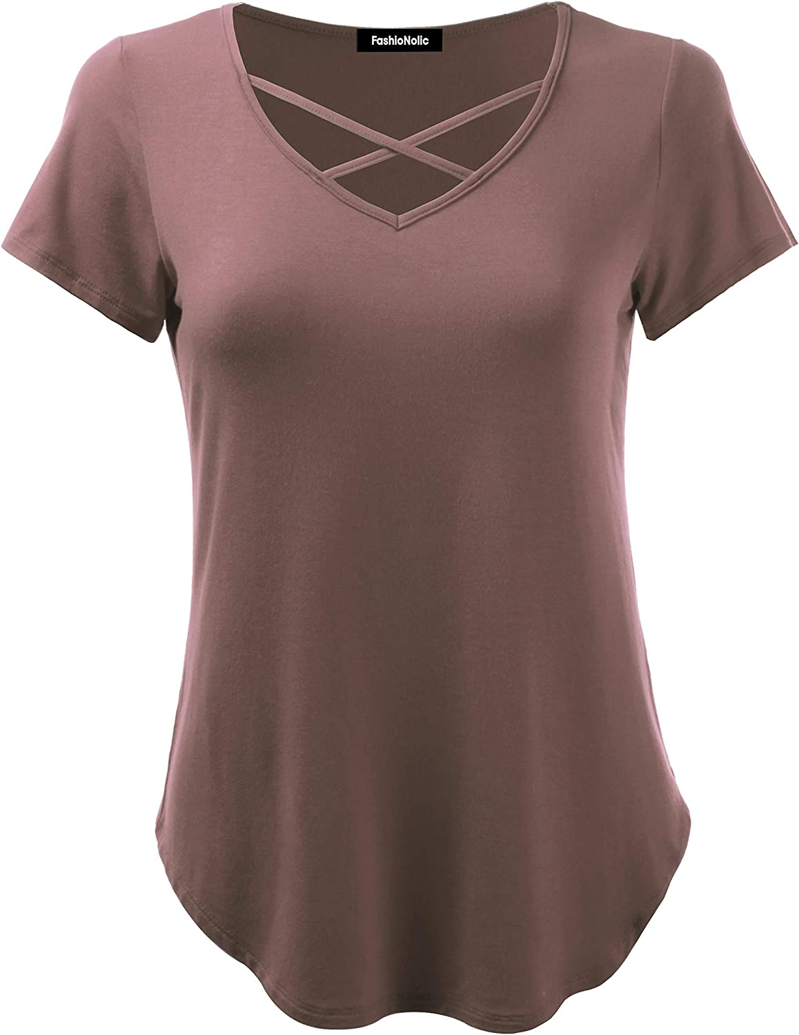 FASHIONOLIC Womens Casual V Neck Short Sleeve Criss Cross/Lace Trim V Neck T-Shirt Blouse Tank Tops S-3X (Made in USA)