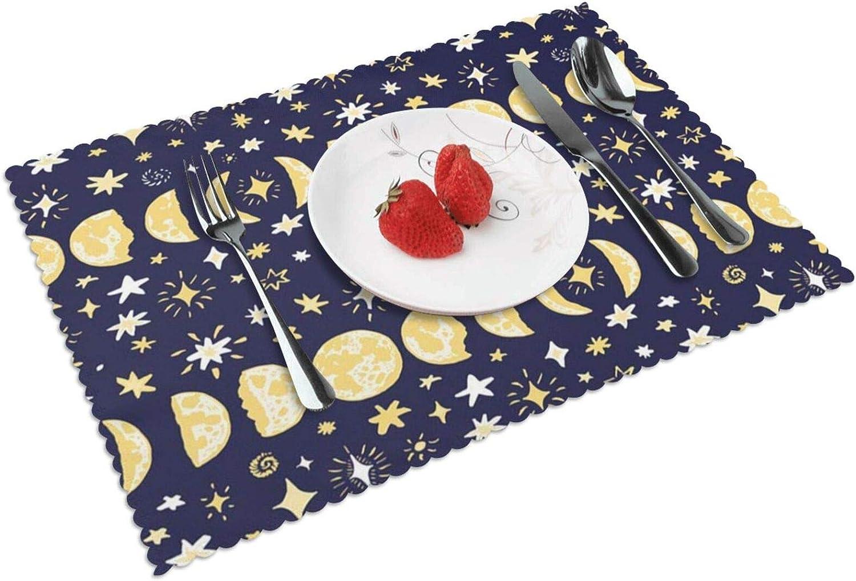 Manteles Individuales Astrología Fases Lunares Estrellas, Mantel Individual Antideslizante Resistente Al Calor Salvamanteles Juego De 4 para La Mesa De Comedor De Cocina, 45x30 Cm