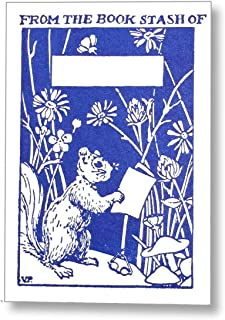 Letterpress Reading Squirrel Ex Libris Kids Bookplates, Made in the USA