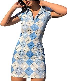 UK Womens Plaid Romper Skirt Dress Ladies Party Mini Shirt Dress Size 6-14