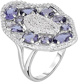 ORO LEONI 925 Sterling Silver Women's Cubic Zirconia Ring. Center Simulated Amethyst surrounded with brilliant cut round W...