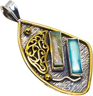 Natural Two Tones Blue Fire Labradorite and Chalcedony 925 Sterling Silver Pendant 2