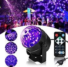 Luz Discoteca UV, SOLMORE Luz Discoteca LED Black Light con Control Remoto Mini Luz de Etapa Lámpara de Efectos para Escenarios para Fiesta Familiar Festival Disco Cumpleaños Bar Club