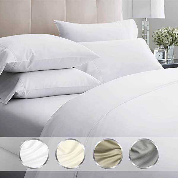 California Design Den 1000 Thread Count Luxury Sheets King Size Pure White 4 Piece Cotton Sheet Set Wrinkle Resistant Comfortable Bedding Made Using Ultra Fine Yarns