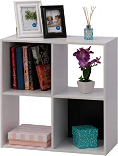 Fineboard 4 Cube Bookshelf Storage Cabinet Organizer Bookcase for Home Office, White, Black Backboard