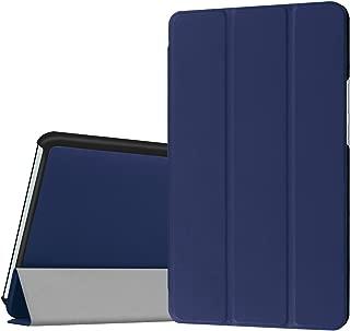 dtab Compact d-01J ケース MediaPad M3 8.4 ケース LeTrade スタンド 機能付き 三つ折 高級PUレザー 超薄型最軽量 傷つけ防止 保護ケース カバー NTT docomo dtab Compact d-01J / Huawei MediaPad M3 8.4インチ専用 ネービーブルー