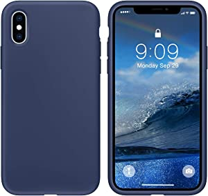 cillen iPhone X case/iPhone Xs case Liquid Silicone Gel Rubber Phone Case,for iPhone X/iPhone Xs 5.8 Inch Full Body Slim Soft Microfiber Lining Protective Case (Deep Navy)