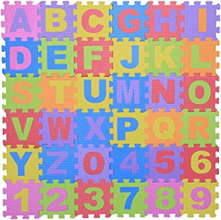 Zerodis Eva skummatta pusselmatta Barnlekar Matta nummer och bokstäver Leksak golvmattor för småbarn 36 stycken