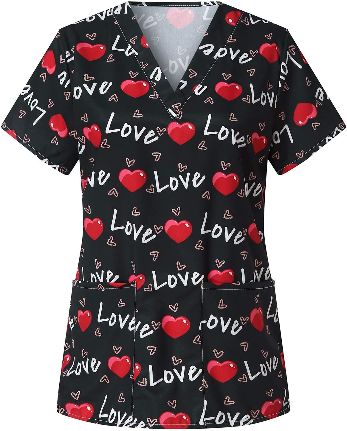 Women Short Cheap super special price Sleeve V-Neck Valentine's Love Work Tops Printed Time sale Day