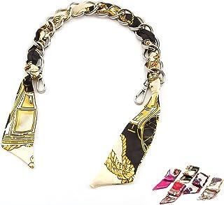 Elegant Silk Scarf Metal Purse Handle Strap Handbag Chain Replacement Accessories Decoration (Silver)