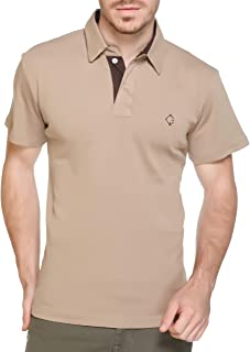 Colors & Blends - Men's Cotton Rib-Knit Polo T-Shirt