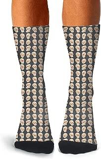 XIdan-die Mens Over-the-Calf Tube Socks Yellow Skull Emoji Moisture Wicking Casual Socks
