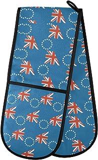 Cooköarna flagga dubbel ugnshandske vante värmebeständig för grill matlagning bakning grillning