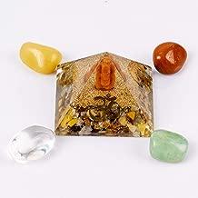 Divine Magic Crystal Pyramid Energy Generator Stone for Wealth, Prosperity, Abundance and Money | Includes Green Aventurine, Red Jasper, Clear Quartz, Yellow Aventurine Tumbled Stones