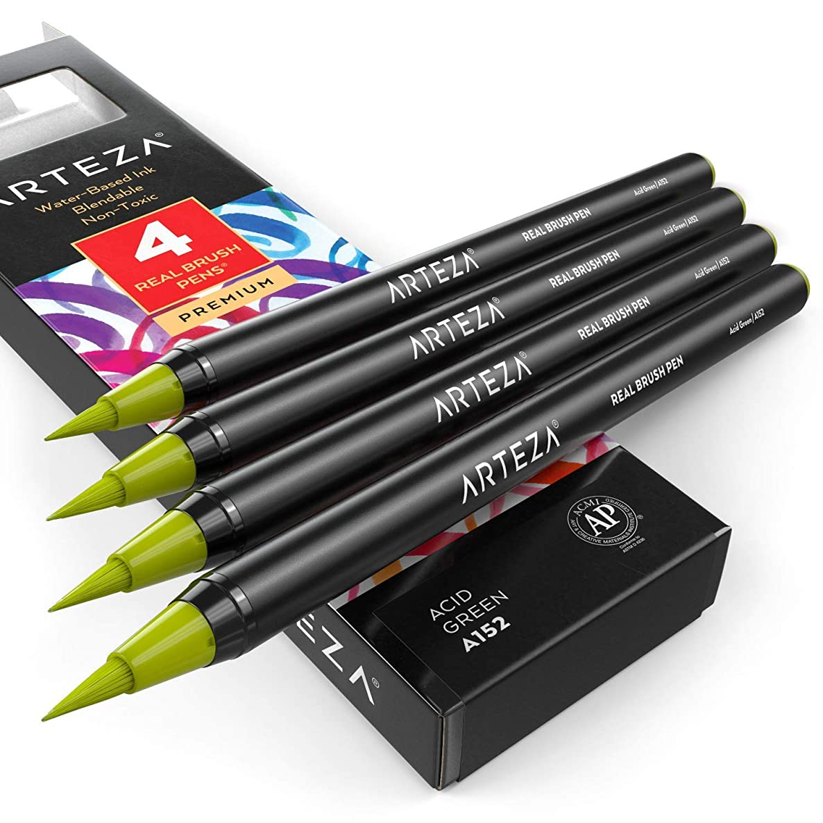 ARTEZA Real Brush Pens (A152 Acid Green) Pack of 4, for Watercolor Painting with Flexible Nylon Brush Tips, Paint Markers for Coloring, Calligraphy and Drawing