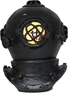 """Ebros Nautical Black Steampunk Diving Helmet Figurine with LED Night Light 9"""" Tall Navy Diver Helm Statue Faux Iron Resin ..."""