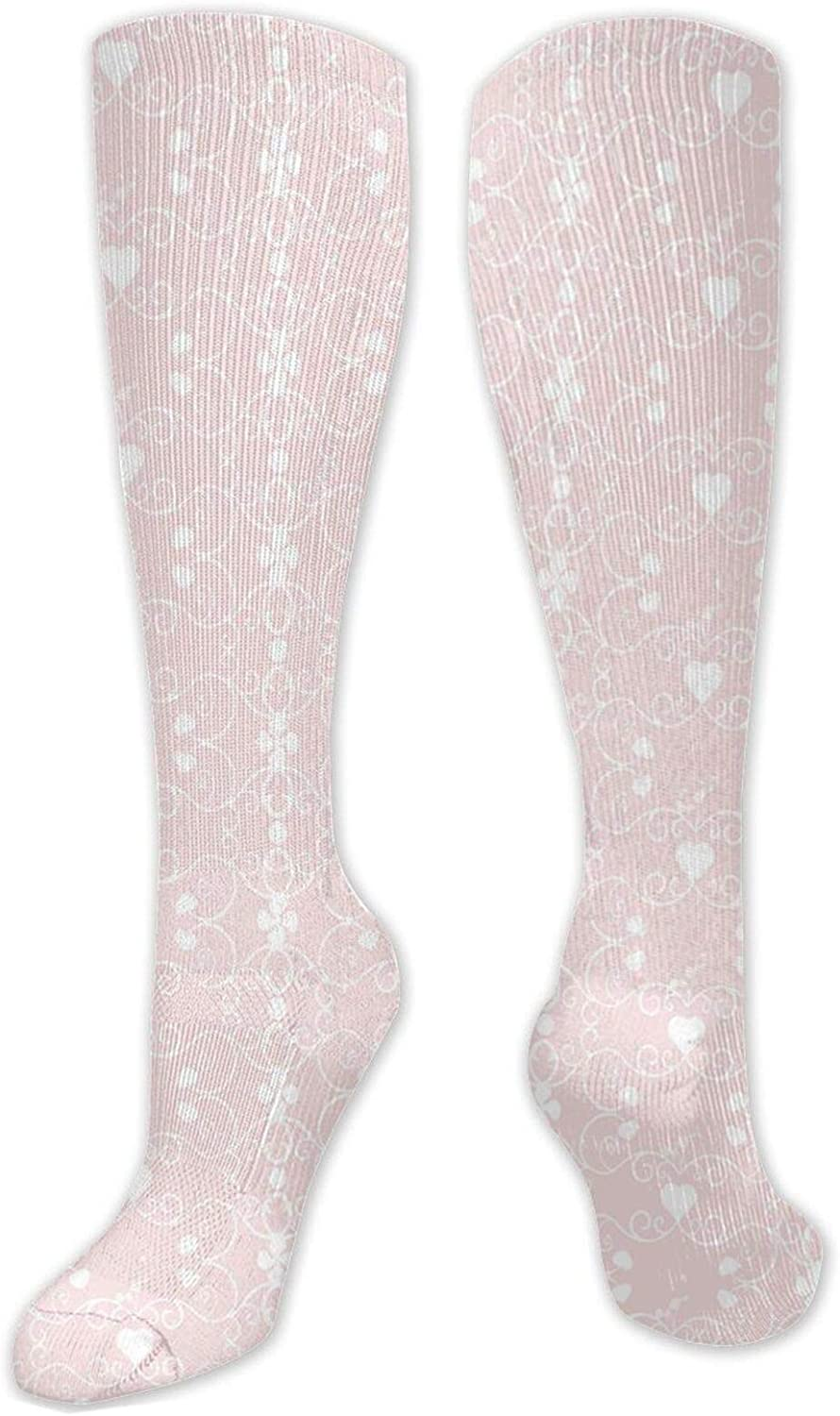 Compression High Socks-Victorian Style Girly Feminine Pattern With Curly Leaves Hearts And Flowers,Socks Women and Men - Best for Running,Athletic,Hiking,Travel,Flight