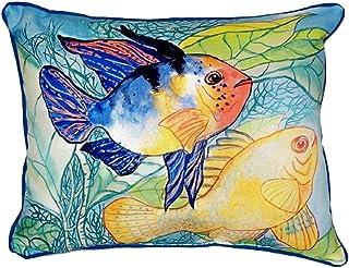 """Betsy Drake SN300 Betsy's Two Fish Pillow, 11"""" x14"""""""