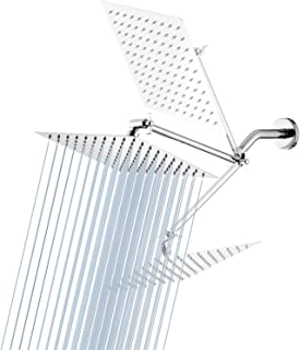 High Pressure Shower Head GGStudy 8 Inches Square Rain Showerhead with 11 Inches Adjustable Extension Arm Stainless SteelUltra Thin Rainfall Bath Shower with Silicone Nozzle Easy to Install