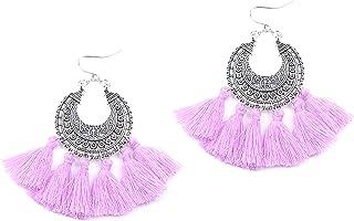 Aashya Mayro Boho Gypsy Collection Antique Design Soft Cotton Thread Tassel ChandBali Earring for Birthday Gift/Christmas ...