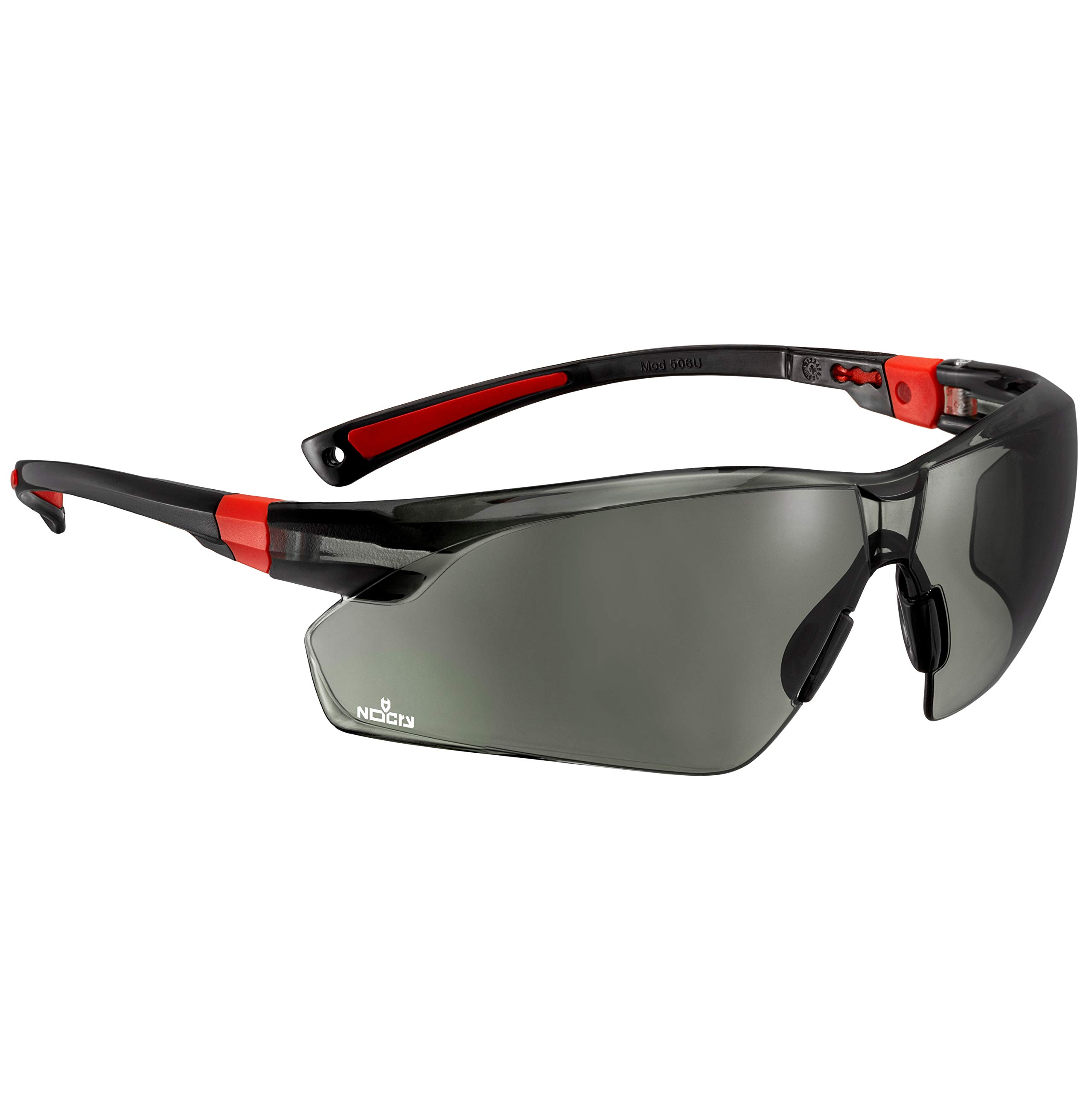 NoCry Work & Sports Safety Sunglasses - with Green Tinted Anti Scratch Wrap-Around Lenses, Non-Slip Grips, UV 400 Protection, Adjustable Fit, Black & Red Frames