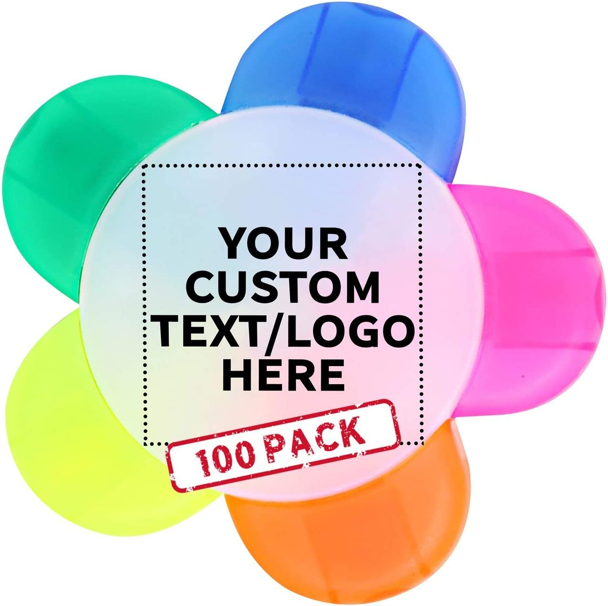 Philadelphia Mall 35% OFF Flower Multi-Color Highlighters - Text 100 pack Customizable