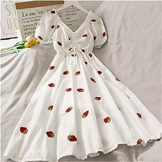 Aardbei jurk kawaii borduurwerk bladerdeeg mouw jurk vrouwen vintage a-line witte vierkante nek strand jurken 2021 Koreaan...