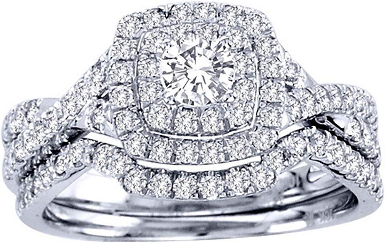 Frances Bridal Set Halo Pave Zirconia CZ Promise Engagement Ring Wedding Band for Women Fashion Jewelry by Ginger Lyne